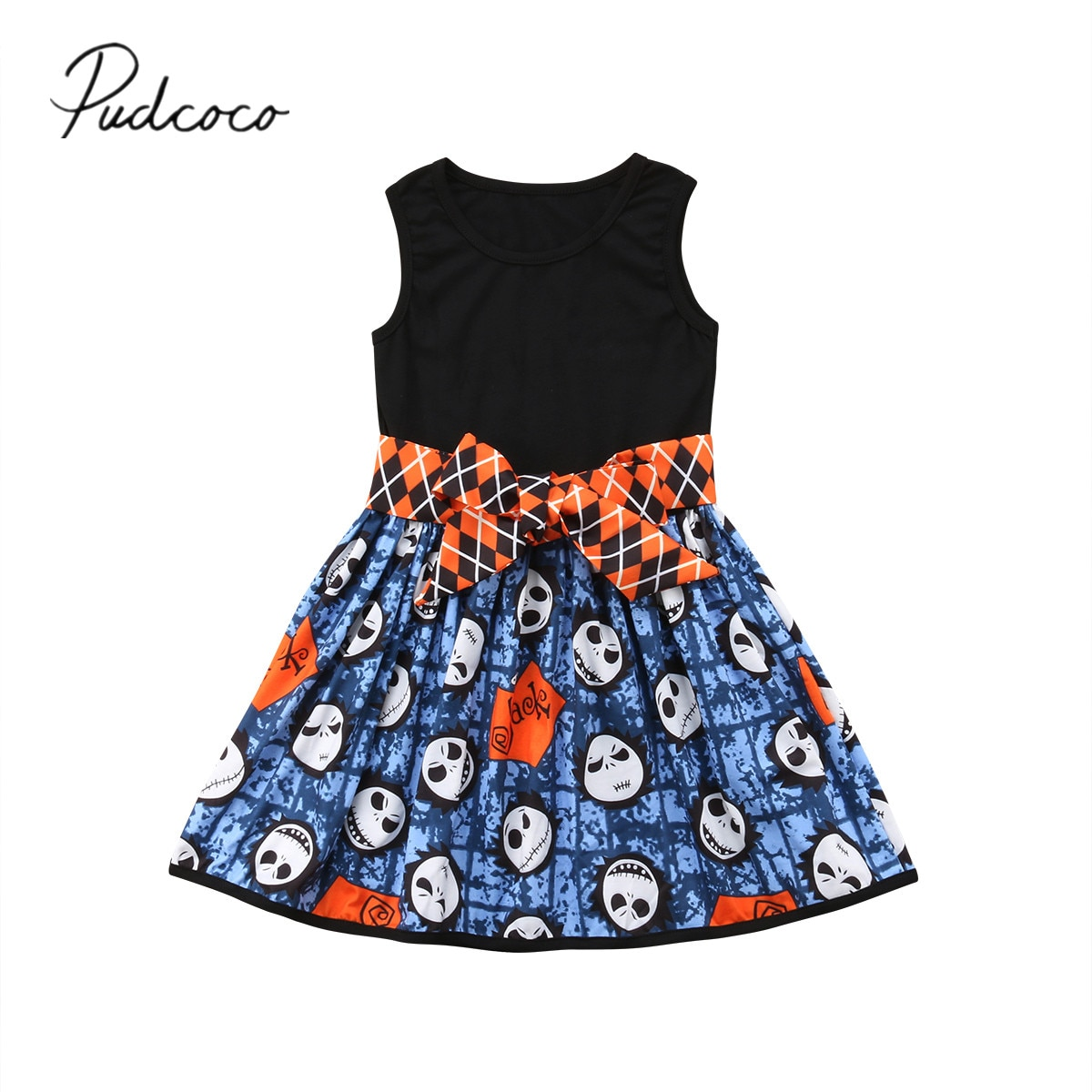 2018 Brand New Halloween Party Princess 0-5Y Toddler Kids Baby Girls Dress Sleeveless Cartoon Skulls Patchwork Knee-Length Dress