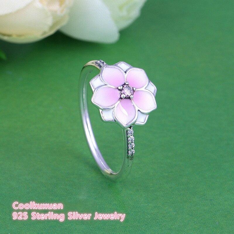 Primavera pálido cerise esmalte & rosa cz magnolia bloom anel 925 prata esterlina flor noivado jóias anéis para meninas femininas