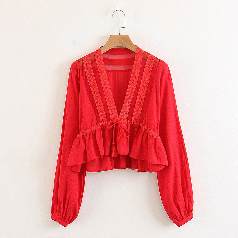 Женская кружевная блузка с длинным рукавом, однотонная красная блузка с кисточками и коротким рукавом, 2 цвета
