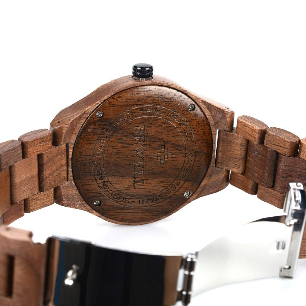 Bewell Mens wooden Watches Quartz Top Brand Cusual Wood Watch Men Date Luminous Vintage Retro Handcraft Wood Wristwatches W154A enlarge