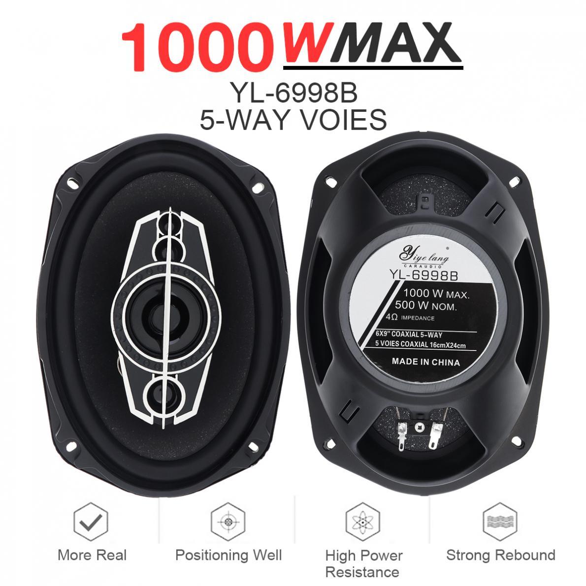 2 uds 6x9 pulgadas 1000W 5 vías Universal Coaxial de la música del coche estéreo Frecuencia de rango completo Hifi altavoces instalación no destructiva