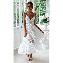 Ordifree 2019 été femmes blanc dentelle longue tunique plage robe Spaghetti sangle lâche Sexy dos nu Maxi robe