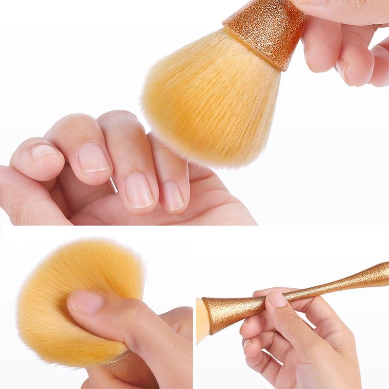 Escova do pó do prego beleza maquiagem blush escova multifuncional escova ferramenta de limpeza do prego escova do prego lantejoulas removedor mais limpo