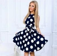 women polka dot dress sleeveless o neck dresses sweet retro vintage party dress vestidos robe with belt