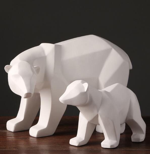 Blanco simple geométrico abstracto osos polares escultura ornamentos decoraciones modernas para el hogar regalo artesanía ornamentación estatua
