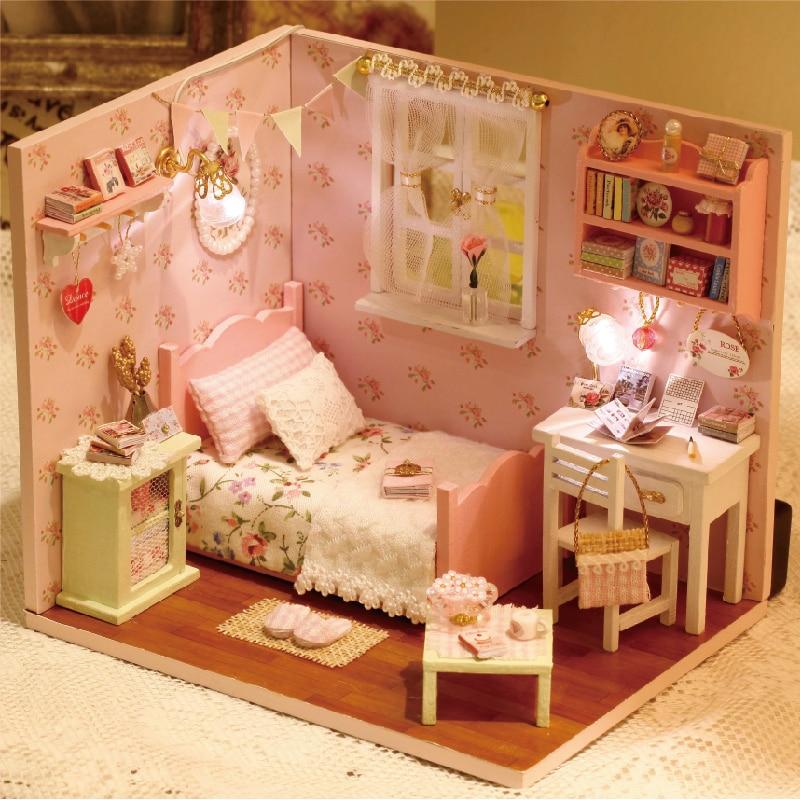Muebles CASA DE DIY para muñecas Wodden Miniatura casas de muñecas muebles Kit rompecabezas hecho a mano casa de muñecas juguetes para niños niña regalo H002