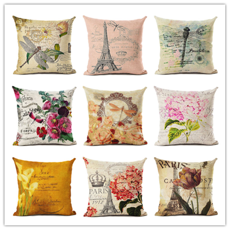 Wystrój domu kwiaty nadruk ważki poszewka Almofadas lniana poduszka dekoracyjna lniana poduszka bez wypełnienia obicia na poduszki