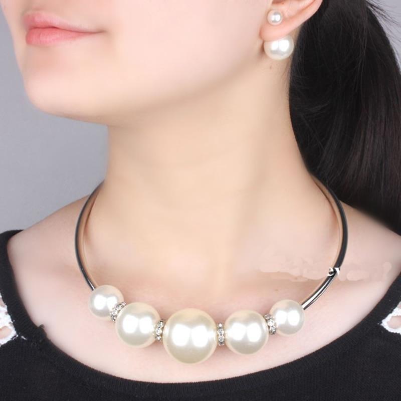 VIVILADY, conjuntos de joyas de perlas de imitación a la moda, Collar de boda para mujer, pendientes, joyería nupcial africana, regalo de fiesta para madre