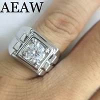 platinum plated silver 1ct 8mm round cut moissanite engagement ring anniversary ring moissanite ring for men