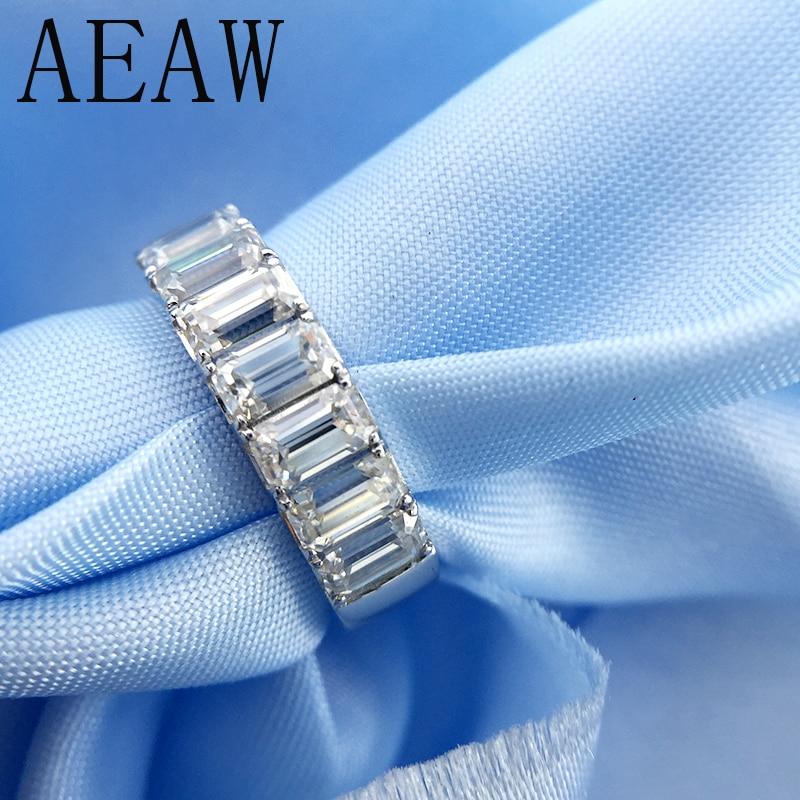 Anillo de compromiso AEAW Esmeralda 2Ctw Color F, anillo de boda Moissanite Baguette, banda de diamante de media eternidad para mujeres en plata
