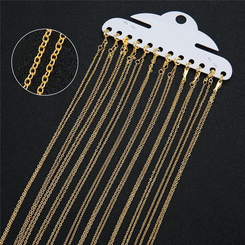 Металлические цепи Losster для изготовления ювелирных изделий, 12 шт./лот, 1,5 мм, опт, медные, золотые, серебряные, открытые, длина 40 см