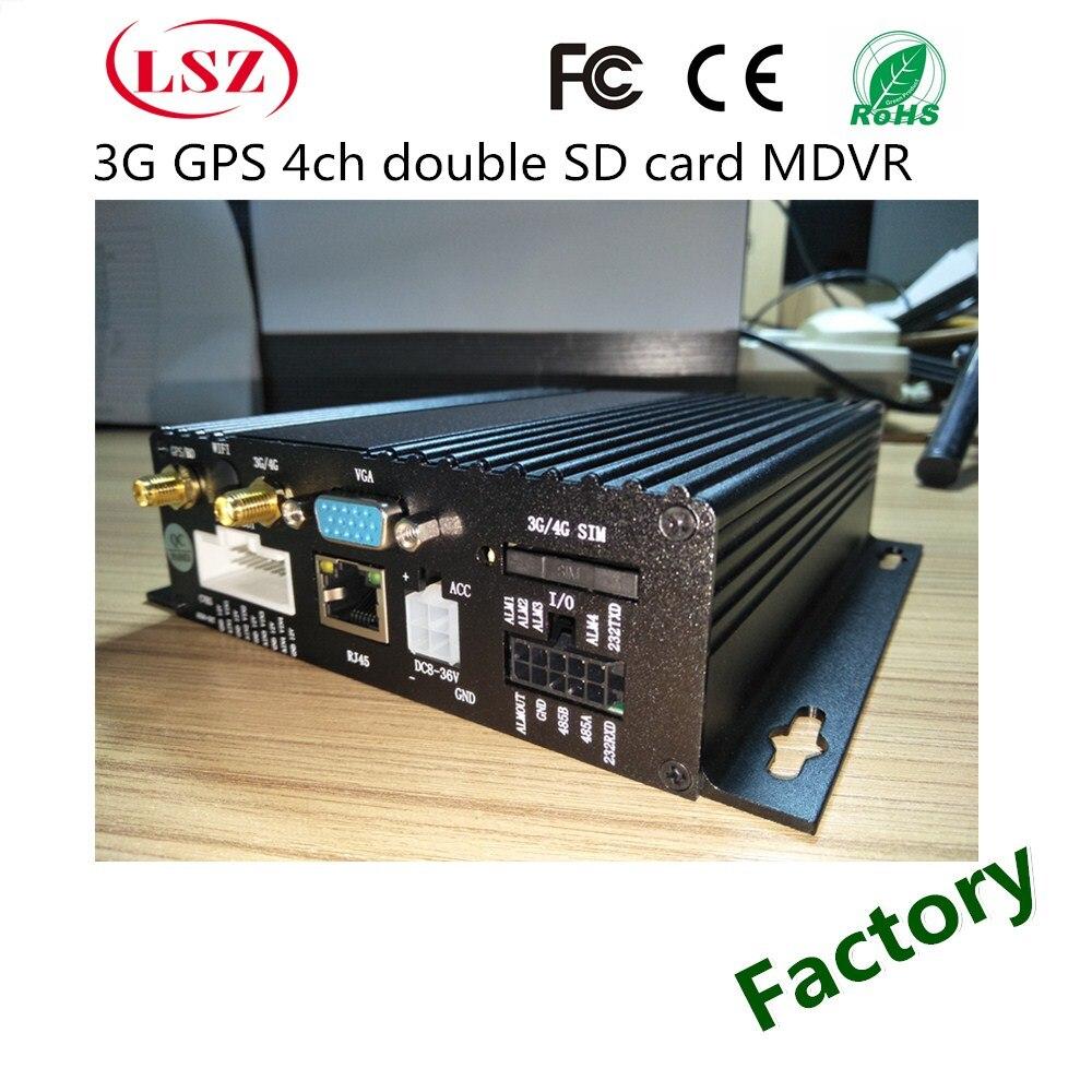Venta al por mayor 4-Forma de tarjeta sd dual HD grabadora de video del coche autobús entrenador autobús escolar equipos de vigilancia