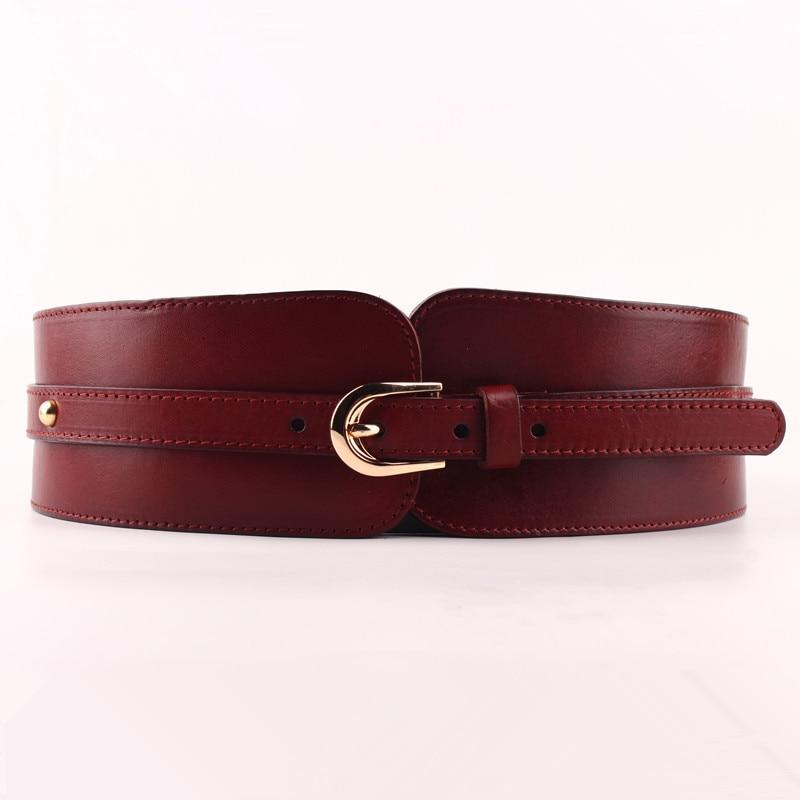 100% Cowskin Wide Belt For Women High Quality Ceinture Femme Elastic Waistband Female Vintage Genuine Leather Belt Buckles