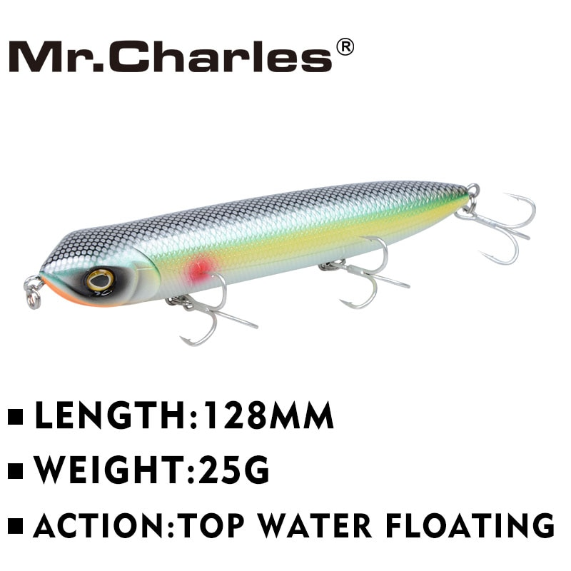 Mr.Charles CMC018 Fishing Lure 128mm/25g Floating Top Water Assorted Colors Popper Wobbler Pencil Hand Tackle