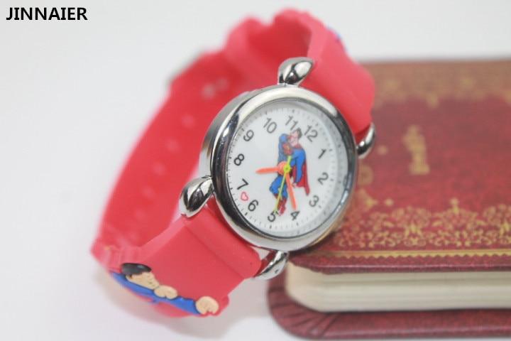 10 unit/lot Mixed Wholesales 3D Cartoon Design Superman Clock Watch Students Boys Birthday Gift Silicone Quartz Wrist Watches