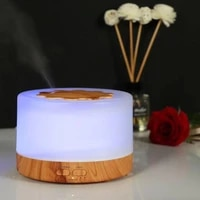 Humidificateurs dair de diffuseur dhuile essentielle darome ultrasonique de 500 ml avec la lampe en bois du Grain 7 LED a couleur changeante pour la maison de bureau