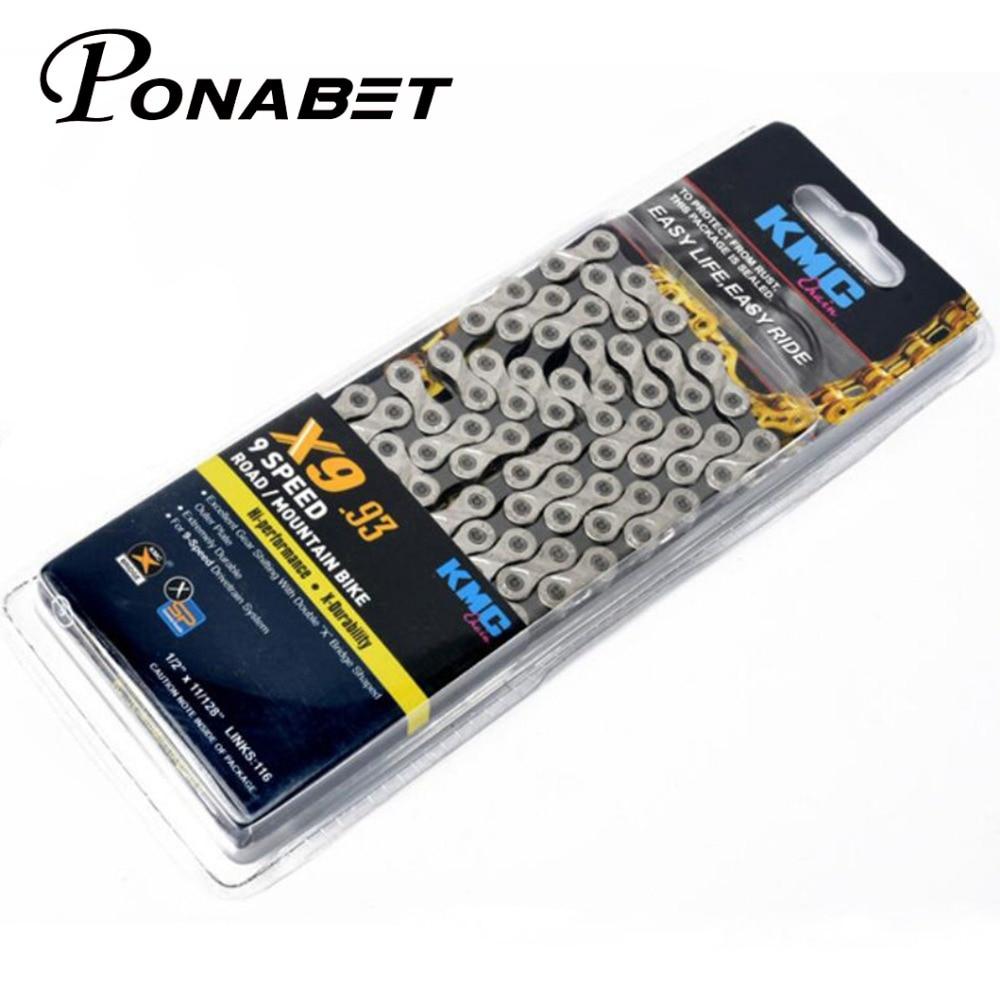 Ponabet 9 X9.93 double X cadeia KMC velocidade MTB da bicicleta da bicicleta corrente de bicicleta cadeia de peças de bicicletas 116 ligações mais leve tipos