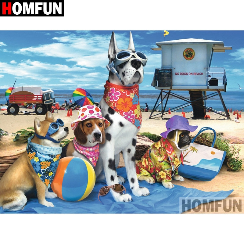 """HOMFUN 5D DIY pintura de diamante cuadrado completo/taladro redondo """"Animal perro"""" 3D bordado regalo de punto de Cruz decoración del hogar A01104"""