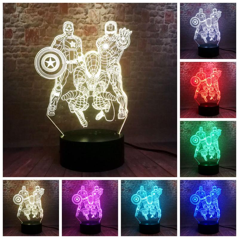 Avengers IronMan Captain America Figure 3D Illusion Nightlight LED 7 Colors Changing Light Marvel Spiderman Iron Man Figma Toys