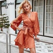 Simplee Ruffles v neck sash women dress Flare sleeve high waist sexy satin dress Autumn winter red wrap casual dress 2018