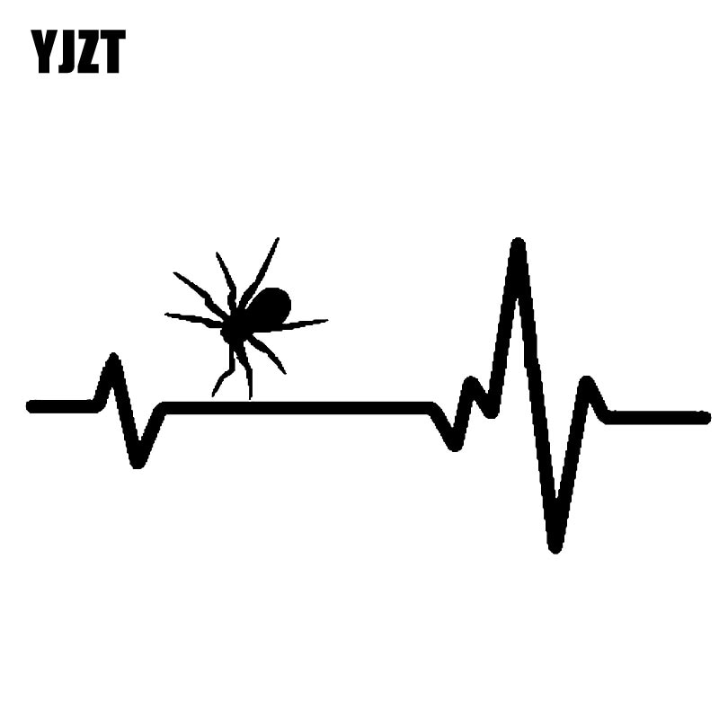 YJZT 20CM * 9,2 CM línea de latido del corazón Animal araña Tarantula peludo Arachnids pegatina de vinilo negro/plata C19-0208