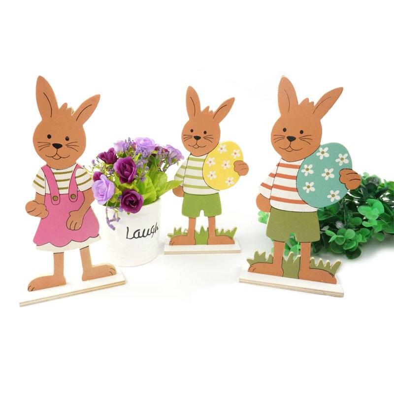 Conejo de pascua decoración 3 tipos/juego de conejo de Pascua de madera y huevo regalo de Pascua para la decoración del hogar huevo de Pascua envío gratis