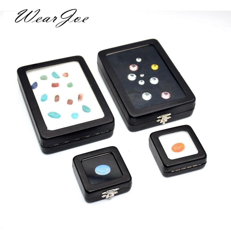 5pcs/lot Loose Diamond Display Box PU Leather Case Gem Stone Storage Box Black White Pad Bead Pendant Gemstones Organizer Holder