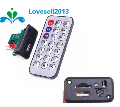 Coche 5 V Mini MP3 decodificador USB TF U disco lector MP3 reproductor amplificador con control remoto IR para Arduino