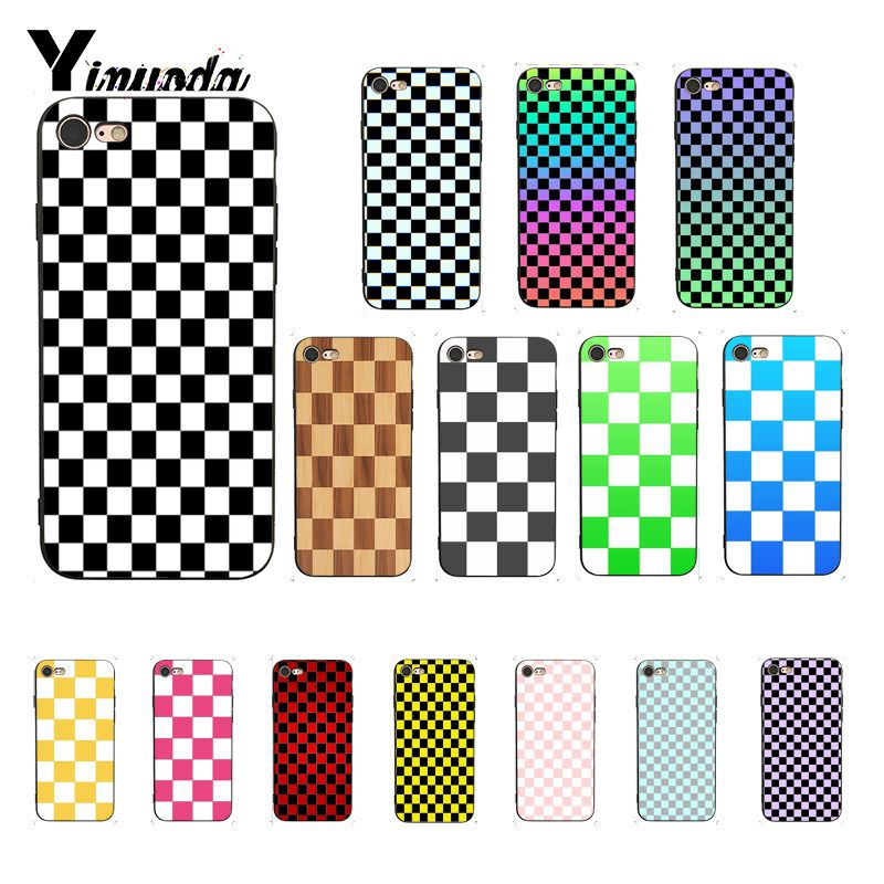 Yinuoda xadrez xadrez verificado tpu preto caso do telefone escudo para o iphone 8 7 6s 6plus 5 5S se xr x xs max coque escudo