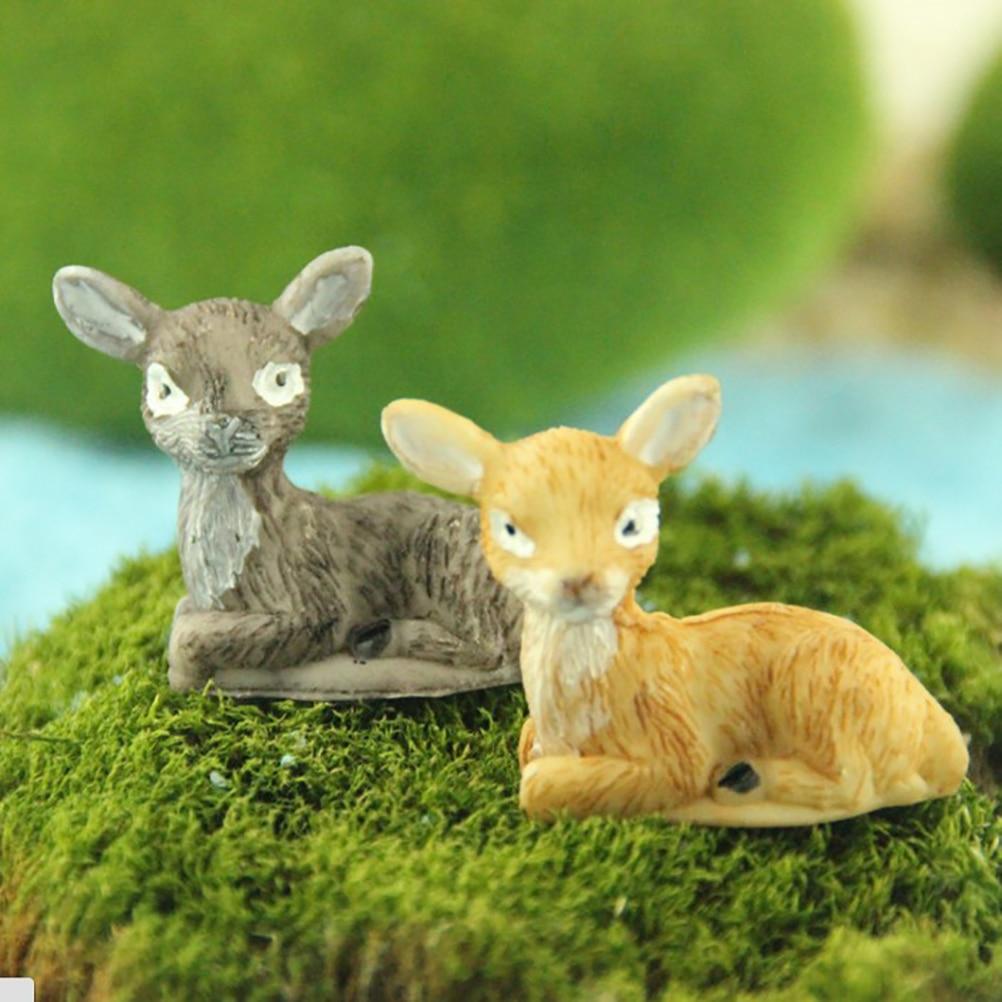 Veados dos desenhos animados família mini jardim de fadas miniatura casa de boneca diy/terrário/casa/micro paisagem decoração suculentas