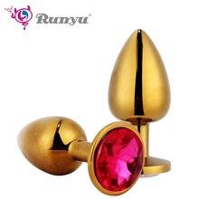 S/M or Plug Anal avec cristal bijoux toucher lisse intime métal godemichet Anal avec strass perle Anal Tube Sex Toy pour Couple