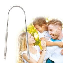 Limpeza da respiração fresca língua revestida escova de dentes dental higiene oral ferramentas cuidados com a língua de aço inoxidável raspador mais limpo
