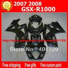 Carrosserie stroomlijnkappen 7 geschenken voor Suzuki GSXR1000 GSX-R1000 2007 2008 K7 GSXR 1000 07 08 alle glossy black kuip set AQ40
