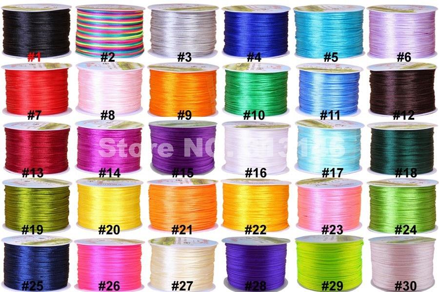 Нейлоновые черные Сатиновые китайские узлы, 1 мм, разноцветные, 70 м/катушка, шелковистый шнур макраме, плетеная нить Шамбала