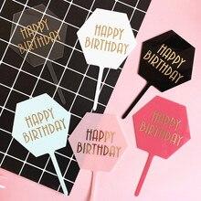 INS hexagone joyeux anniversaire acrylique gâteau Topper feuille dor lettres décoration de gâteaux pour bébé douche fête danniversaire gâteau décorations