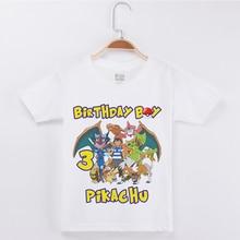Birthday T Shirt Design For Kids Cute Pretty Cartoon Pokemon Print Cotton Children Clothing Girl tops Fashion 2019 Boys Clothes