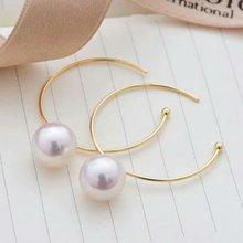 shilovem 18k yellow gold Natural  freshwater pearls stud Earrings fine Jewelry new round women trendy wedding  gift yz8.5-900zz