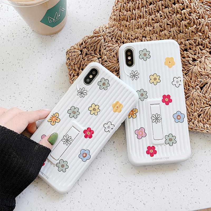Funda de teléfono con bonita flor para iphone X XR XS Max, funda para iphone 11 Pro Max 6 6s 7 8 plus, funda con soporte, fundas suaves, Capa a rayas