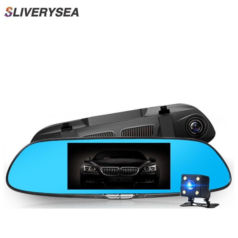 """SLIVERYSEA Veículo DVR Carro HD 1080 p Câmera de Vídeo De Lente Dupla Espelho Retrovisor Dual Record Traseira Visível 7 """"Azul espelho de Tela Grande"""