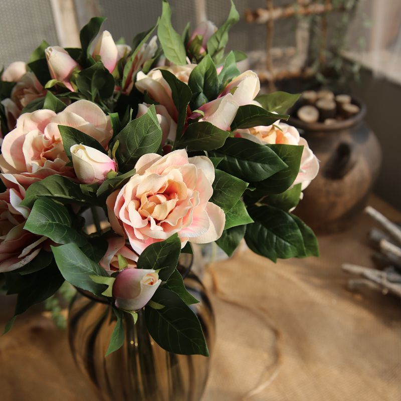 4Colors 3 Heads Silk Gardenia Artificial Flower Wedding Flowers for Home Decoration Party Fake
