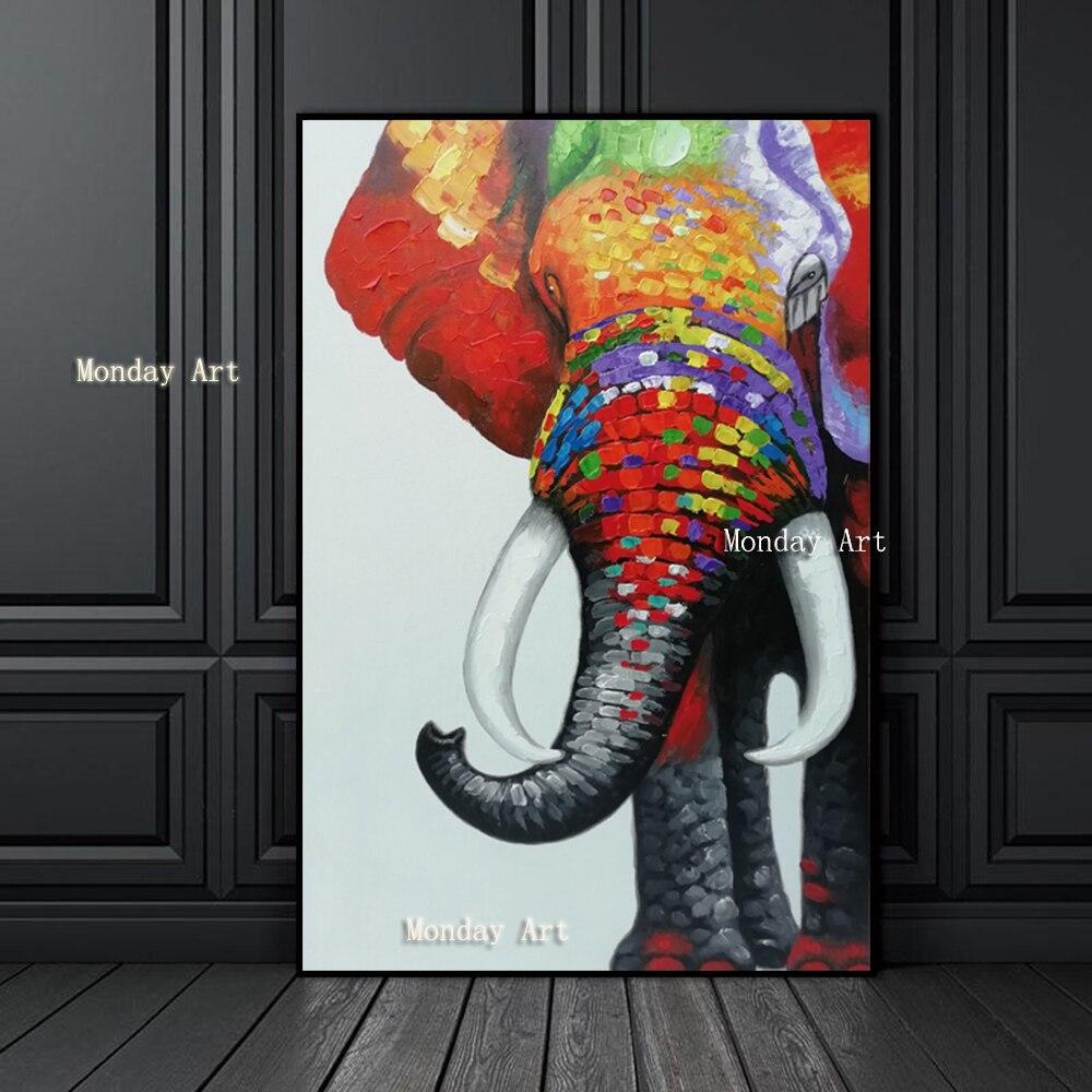 Gran tamaño elefante pintura 100% pintado a mano animal pintura al óleo sobre lienzo arte de pared cuadros para la decoración del hogar de la sala de estar