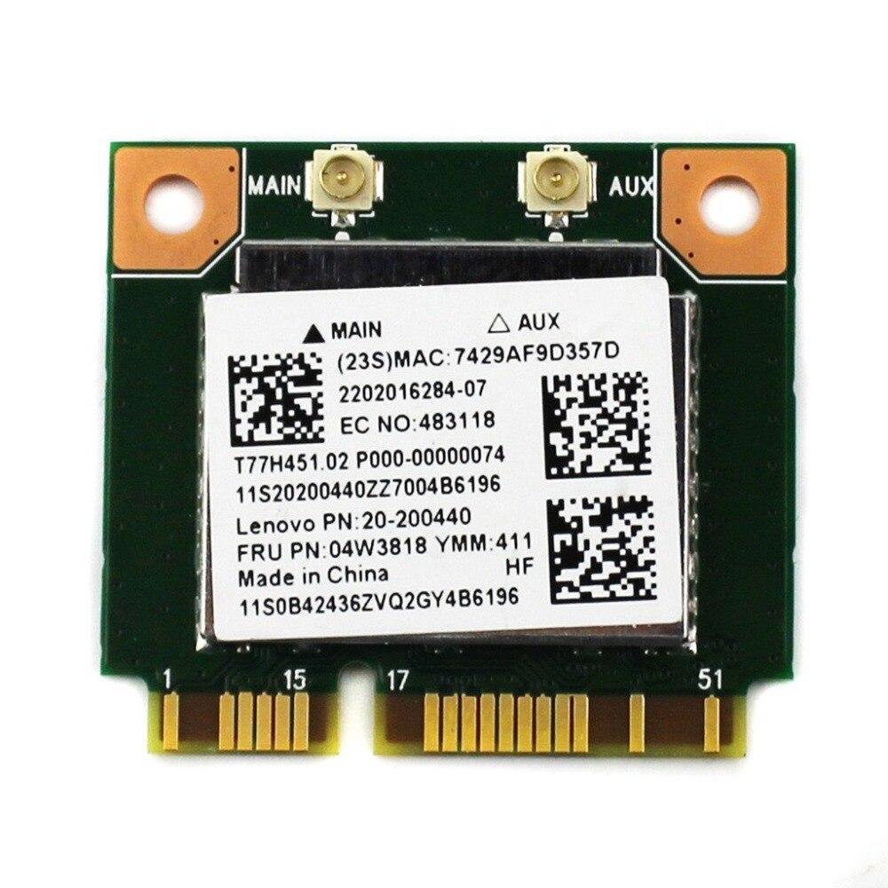 Realtek RTL8723BE Mini PCI-E Wifi Wlan Bluetooth 4,0 tarjeta inalámbrica para leno-v-o E440 E540 S440 S540 FRU 04W3818