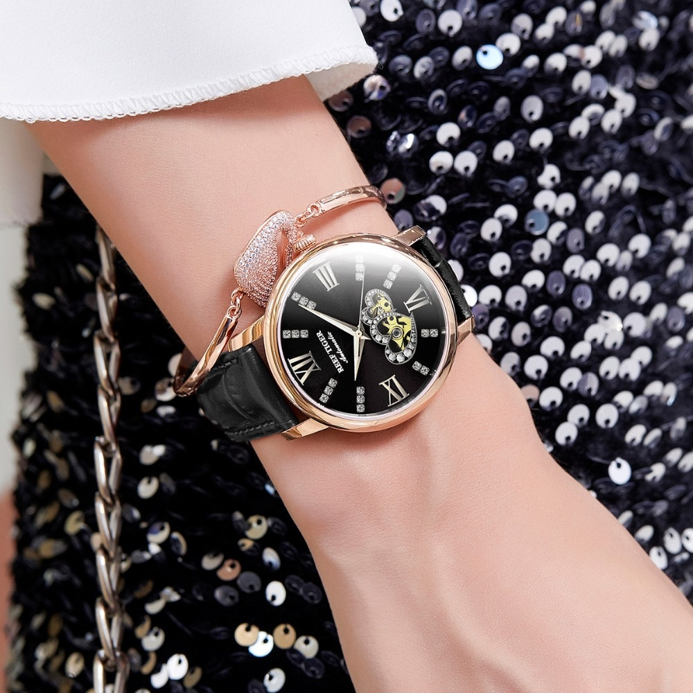 Reef Tiger/RT Luxury Brand Women Watches Rose Gold Automatic Watches Leather Strap  Diamond Watches Reloj Mujer RGA1580 enlarge