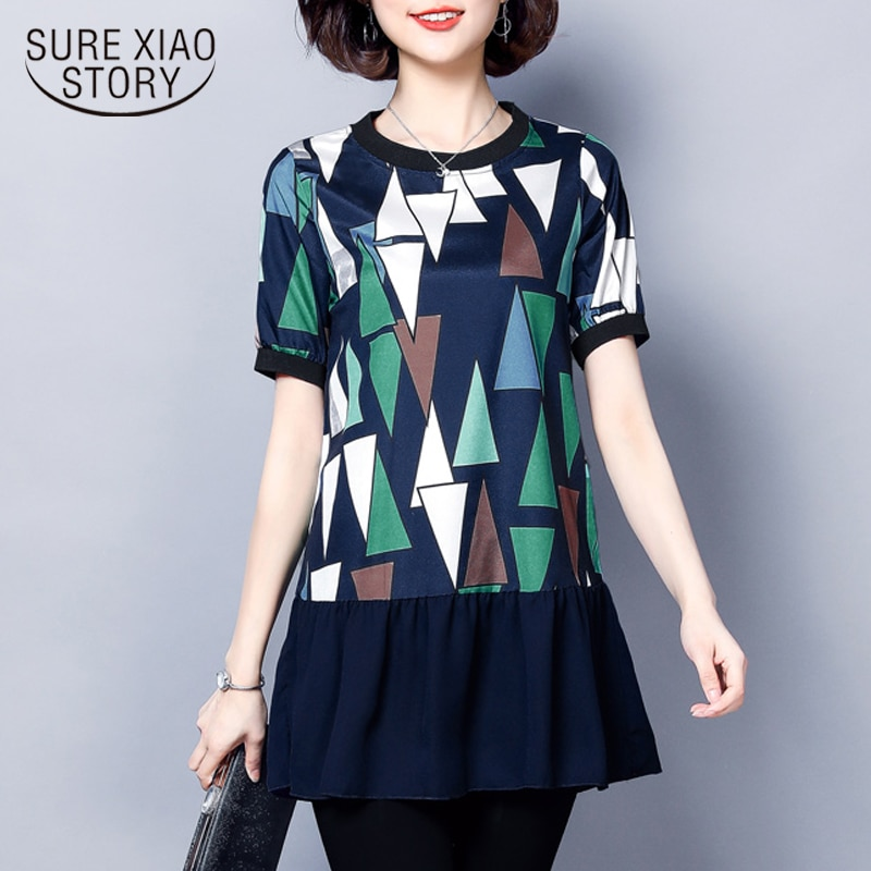 2018 Summer Fashion Loose Women Blouse Shirts Chiffon New Causal Female Clothing Short Sleeve Femme Blusas Plus Size 0663 40