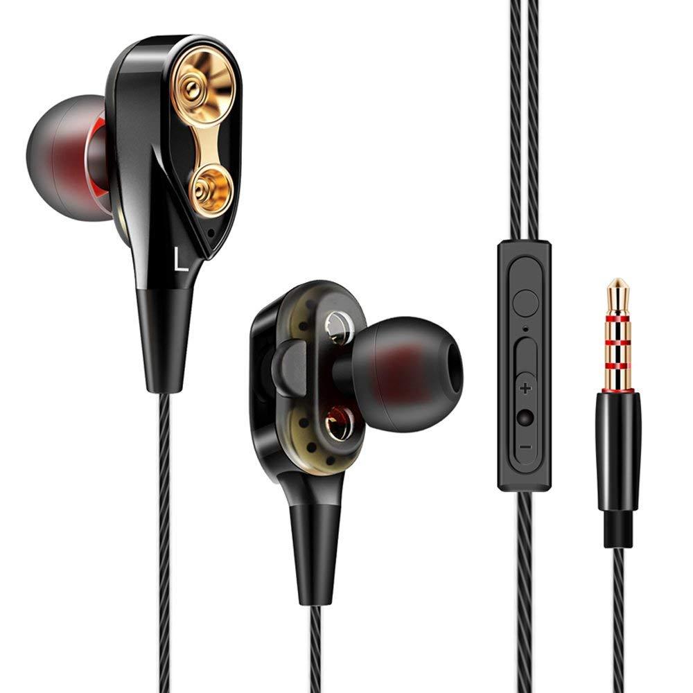 Проводные наушники-вкладыши с двумя драйверами, стерео наушники hi fi, наушники с басами и микрофоном 3,5 мм для телефона xiaomi huawei