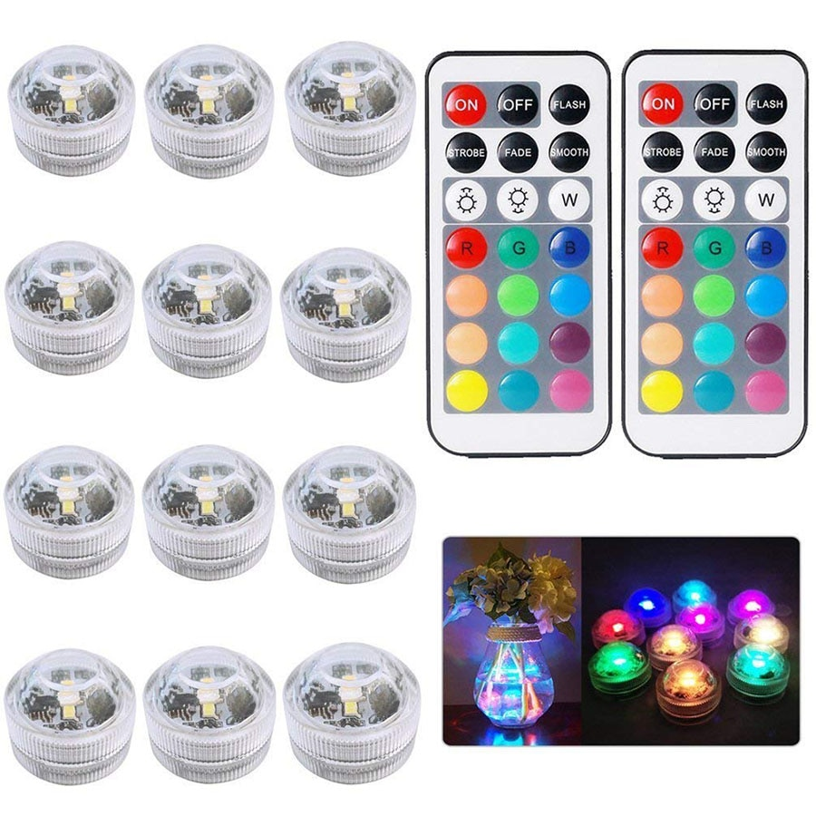 Remote Controlled RGB Submersible Light Battery Operated Underwater Night Lamp Vase Bowl Outdoor Gar