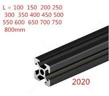 Extrusion de profil en aluminium anodisé   Norme européenne noir 2020 Rail linéaire de 100 à 800mm de long pour imprimante 3D pièce