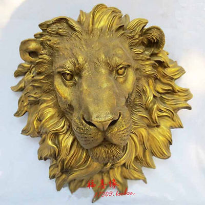 SCY West Art escultura de bronce puro Tallas fierous beast of prey León cabeza estatua decoración de jardín 100% bronce real