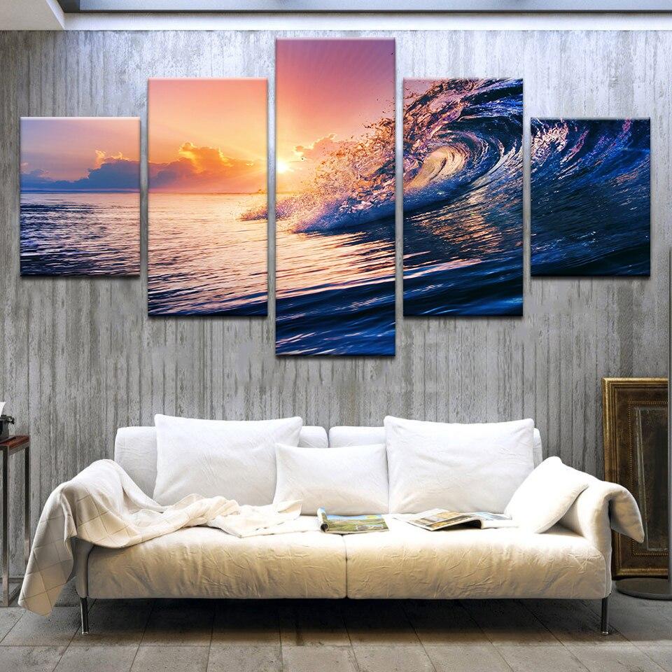 Leinwand Sonnenuntergang Meer Wellen Seascape Gemälde Ozean Strand Poster HD Gedruckt Hause Dekorative 5 Stücke Wandkunst Modularen Bilder
