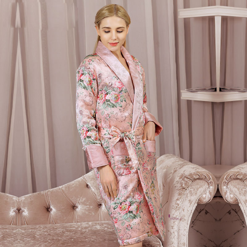High Quality Real Silk Sleeping Robe Female Winter Thicken Natural Silk Sleepwear Women Printed Long-Sleeved Bathrobes YE2028
